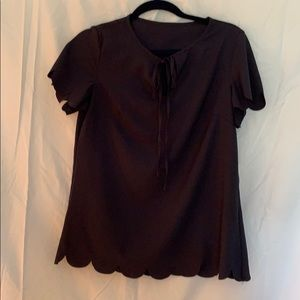 Tops - Navy Scallop-Hemmed Blouse